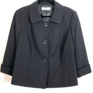 Tahari Ribbon Button Detail Lined Black Jacket 18W